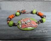 SALE Sleeping Fox Green and Orange Bracelet