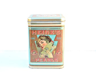 Vintage tin H.J. Heinz' Co Pearls Cheinco housewares tin storage container pickling preserving works