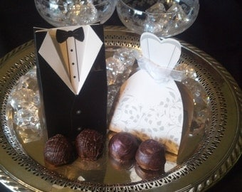 Wedding Favors, Party Favors, Dark Chocolate, Chocolate Truffles, Gourmet Chocolate, Handmade Chocolate Truffles, Boxed Chocolates, Favors