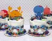 Under the Sea Baby Diaper Cakes Set of 4 Shower Gifts or Centerpieces