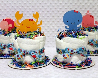 Under the Sea Baby Diaper Cakes Set of 4 Shower Centerpieces Gift