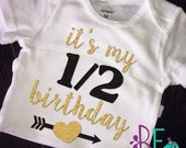 1/2 Birthday shirt, gold and black glitter, half birthday, baby girl glitter tee, sparkly shirt, 6 month birthday, cake smash, half birthday