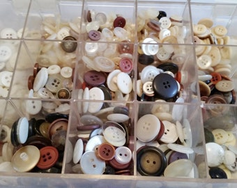 2.5 lbs Mixed Buttons with Case - Brown White Clear Cream Etc. - Collectible