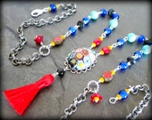 Long Red Silk Tassel Necklace, Millefiori Glass Pendant, Tassel Jewelry, Ethnic Necklace, Layering Necklace, Colorful Jewelry, African Beads