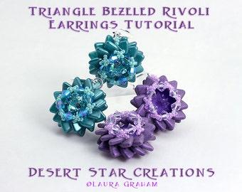 Triangle Beaded Rivoli Bezel Earring Tutorial, Rulla Bezeled Earring Pattern, PDF Two Hole Beading Earring Instructions