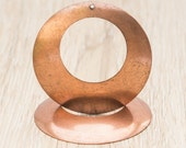 Round Open Cut Hole Copper Pendant, Lightweight Earring Hoops, Metal Concave Charm, Vintage Aged Patina (60mm)