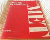 Vintage Un Ballo In Maschera Opera LIBRETTO MET Metropolitan Opera G. Schirmer 1957 The Masked Ball