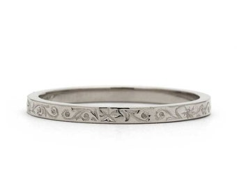 Hand Carved Floral Wedding Ring in White Gold