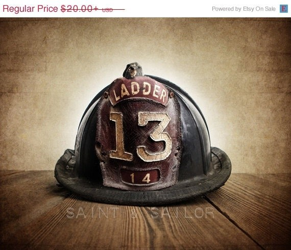 FLASH SALE Vintage Fireman helmet Photo Art Print,Vintage Ladder 13, 12 Sizes Available from Print to Mounted Canvas