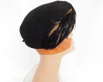1960s feather hat, black tilt toque