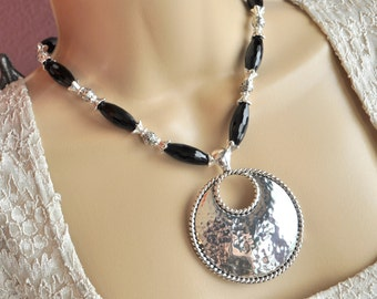 Hammered Silver Pendant and Black Onyx Necklace and Earring Set
