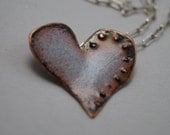 Sky blue copper heart necklace