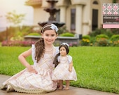 "Matching Girl and Doll Dresses - Matching flutter sleeve dress - 15"" or 18"" doll dress - pink gold dress - birthday dress - photography"