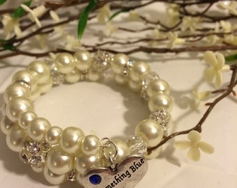 "Ivory Pearl Wrap Bracelet with a ""Something Blue"" Charm"