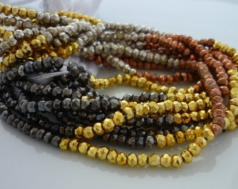 Multi metallic coated pyrite faceted  rondelle beads 2-2.5mm 1/2 strand