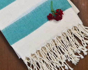 turkish linen towel, turkish peshtemal, father's day, hamam towel, for dads, yoga towel, beach wedding, green turquoise striped towel