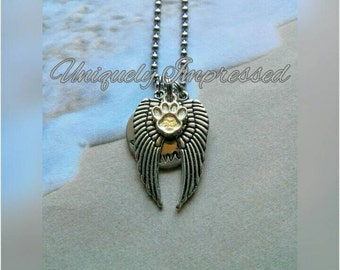 Dog Cat Paw Print Animal Angel Wing Companion Furry Friend Hammered Metal Necklace Unique Jewelry Uniquely Impressed