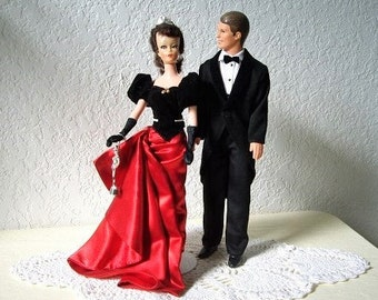 Debbie Clone Doll wearing the Barbie Avon Winter Splendor Red Satin and Black Velvet Gown with Ken in a Tux