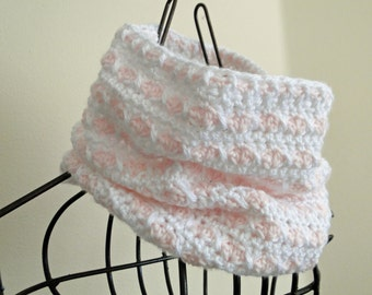 Pink and White Heart Cowl