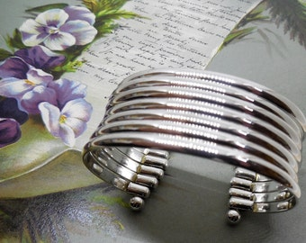 Wide 7 Band Sterling Silver Cuff Bracelet 925    MD33