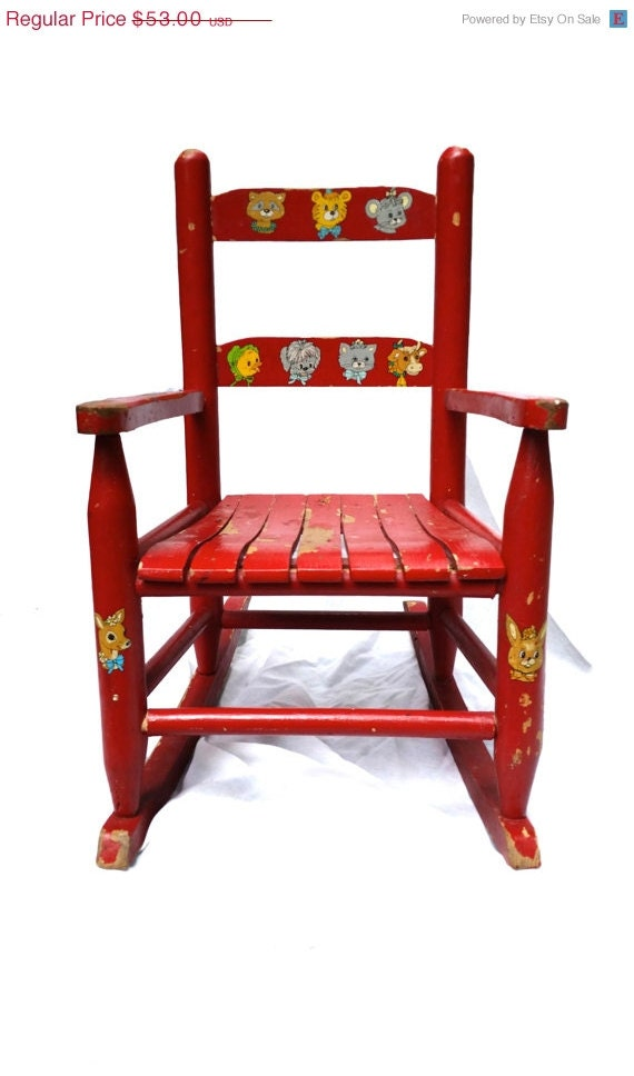 40% OFF SUMMER CLEARANCE Vintage Red Children's Rocking Chair with ...