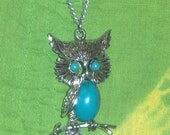 60s Silver & Turquoise Owl Pendant and Chain