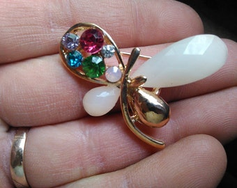 Lovely Butterfly Or Dragonfly rhinestone brooch