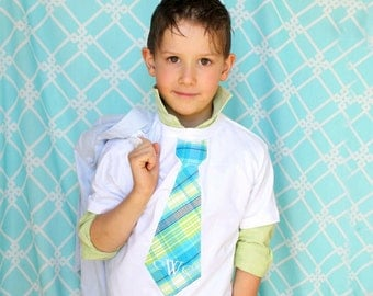 Easter Spring Boy's Personalized Plaid Tie T-shirt. Children Clothing, Wedding, Ring Bearer.   Monogrammed. Big Brother Tie Top Tshirt