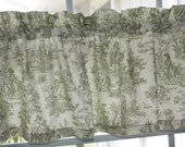 Valance  Sage Green and Off White French Toile  Country Style Sweet Past Times   New.