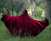 Velvet Cape Red Riding Hood Costume Cape Fairytale Fantasy Cloak in Red Bourgundy Velvet