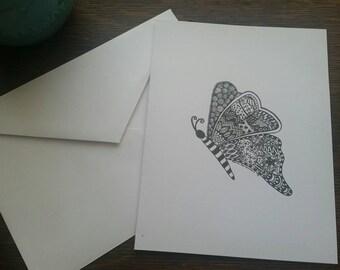Original Art- Butterfly Zentangle 4x6 Notecard with Envelope