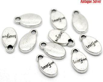 "10pcs. Antique Silver Imagine Charms Pendants - 15mmx8mm (5/8""x 3/8"")"