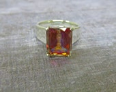 Topaz Ring - Azotic AAA Topaz & Sterling Silver Ring - Woman's Ring Size 6 3/4