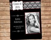 Class of 2015 Graduation Announcement,  Black and White Damask, Digital File