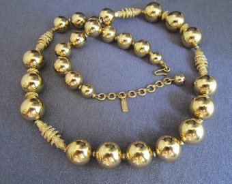 Long Gold Tone Bead Necklace, vintage beads, Monet jewelry, signed necklace