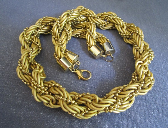 Gold tone Chunky Necklace, thick necklace, gold tone chain, gold braided necklace, multi strand