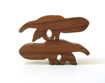 Anteater Wood Animal Toys Waldorf  Wooden Toy Miniature Noah's Ark Animal Pairs Children's Zoo Animal Figurines