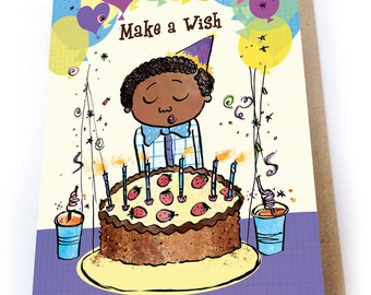 Party Time Birthday Card, Multicultural Cards, Greeting Card, Biracial greeting card, childrens birthday card, Birthday Boy, for Boys, Cake