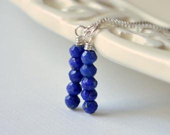 Lapis Lazuli Earrings, Threader Earrings, Royal Blue Gemstones, Sterling Silver, Dainty Silver Jewelry, Free Shipping