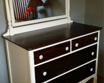 antique dresser 1920s refinished walnut dresser