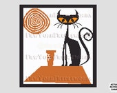Retro Cat Cross Stitch, 1970s Cross Stitch Cat, Cats Cross Stitch, Cat Silhouette, Needlepoint, Cat Pattern by NewYorkNeedleworks on Etsy