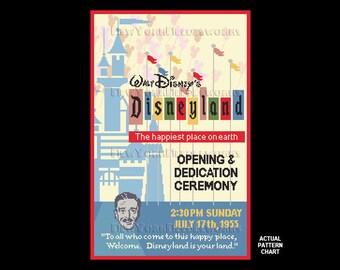 Disneyland Cross Stitch, Disney Poster, Disney Opening Ceremony Cross Stitch, DL Poster, Disney Cross Stitch by NewYorkNeedleworks on Etsy