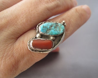 Vintage Sterling Coral Turquoise Navajo Ring