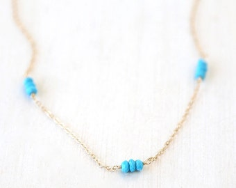 Turquoise Beauties // 14K Gold Filled Necklace // simple everyday delicate jewelry