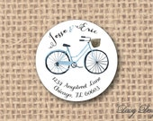 Round Return Address Labels with Bicycle in Watercolor Style - 96 self-sticking labels