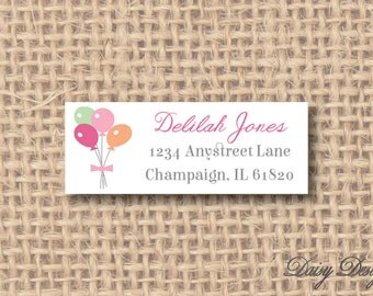 Return Address Labels - Balloons and Bow - 120 self-sticking labels