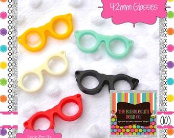 GLASSES PENDANTS Qty 10 42mm Glasses Acrylic Bubblegum Bead Bubble Gum Bead Acrylic Glasses Beads Gum Ball Bead Glasses Pendants Spectacles