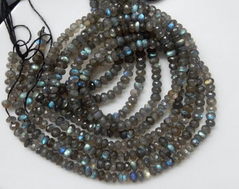 6mm Gorgeous , blue flashy labradorite faceted rondelles (6mm)
