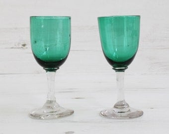 Vintage Victorian Green Drinking Glasses - Edwardian Sherry Port Hand Blown Glass