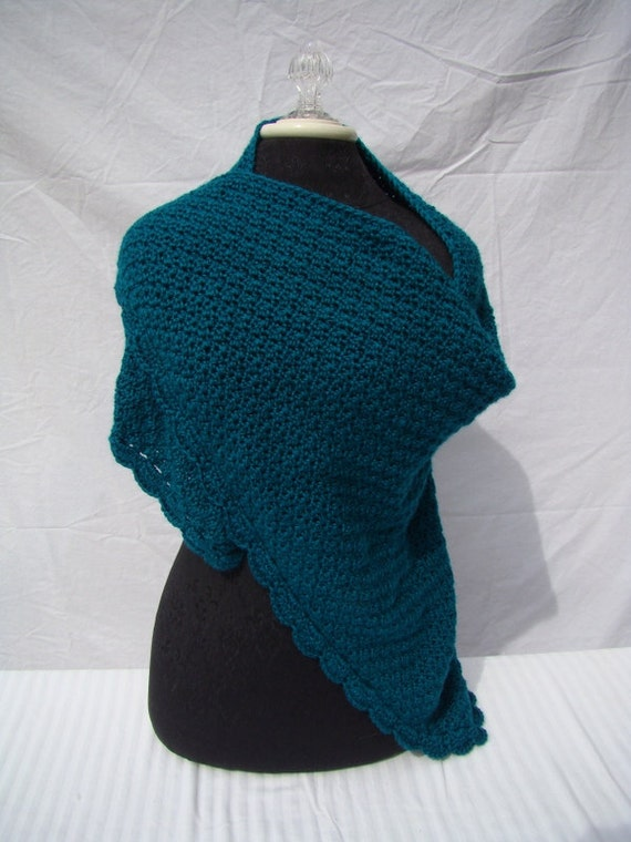 Teal green hand crocheted shawl with moss stitching and scallop edging
